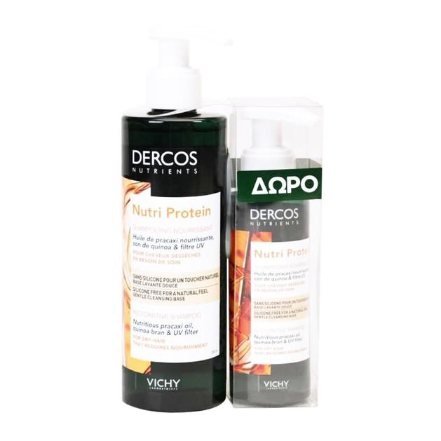 Vichy Promo Dercos Nutri Protein Restorative Shampoo for Dry Hair 250ml & Δώρο Dercos Nutri Protein Restorative Shampoo 100ml
