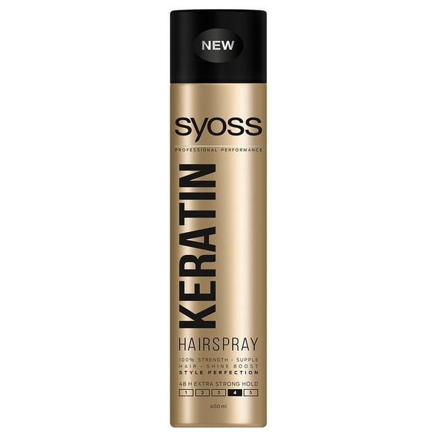 Syoss Hairspray Keratin Επαγγελματικό Δυνατό Κράτημα για Μαλλιά Γεμάτα Ζωντάνια & Λάμψη 400ml