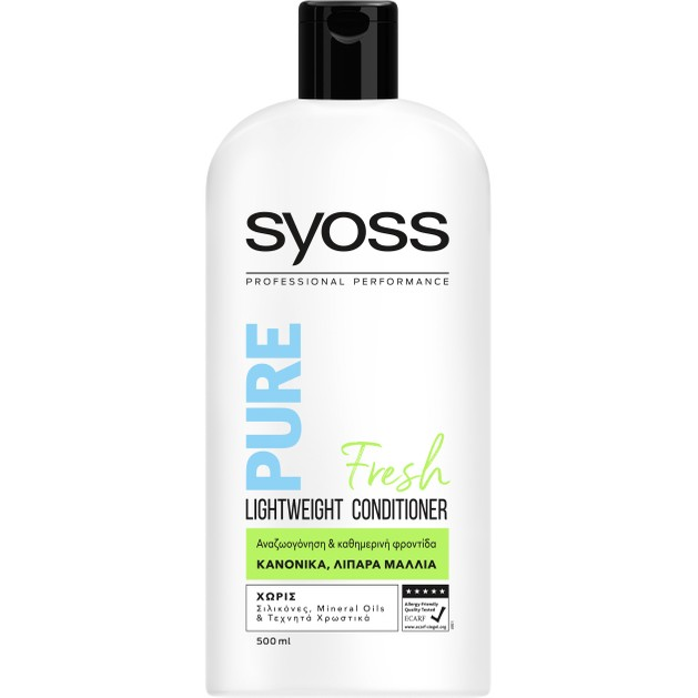 Syoss Conditioner Pure Fresh Επαγγελματική Μαλακτική Κρέμα για Αναζωογόνηση,Καθημερινή Φροντίδα στα Κανονικά,Λιπαρά Μαλλιά 500ml