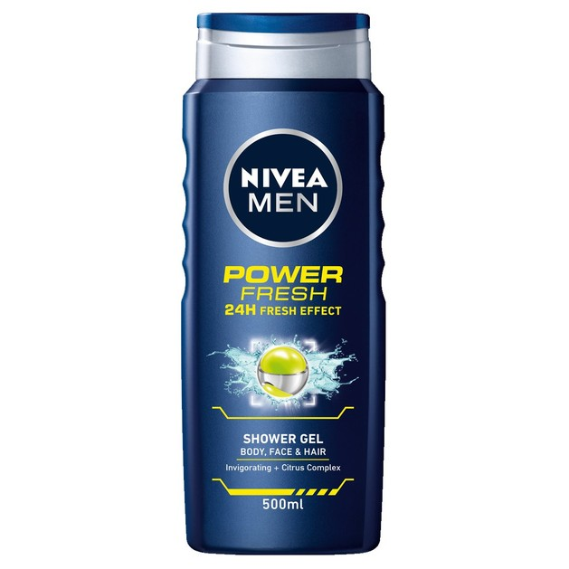 Nivea Men Shower Gel Power Fresh Αφρόλουτρο για Σώμα, Πρόσωπο και Μαλλιά 2x500ml 1+1 Δώρο