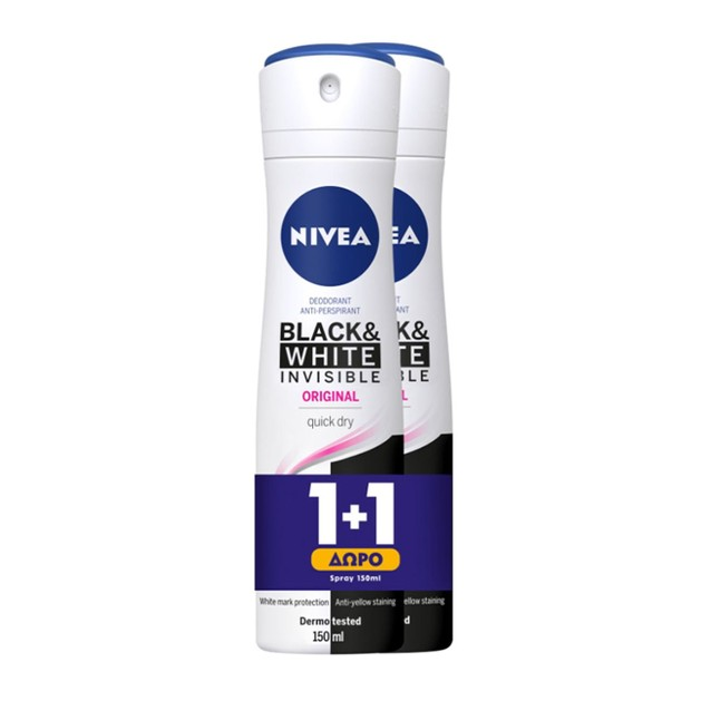 Nivea Deo Black & White Clear Invisible Spray Γυναικείο Αποσμητικό Κατά των Λευκών Σημαδιών 2x150ml 1+1 Δώρο