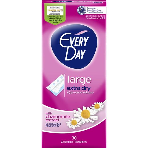 Every Day Extra Dry Large Ανατομικά Σερβιετάκια με Έξτρα Στεγνό Κάλυμμα & Εκχύλισμα Χαμομηλιού 30 Τεμάχια