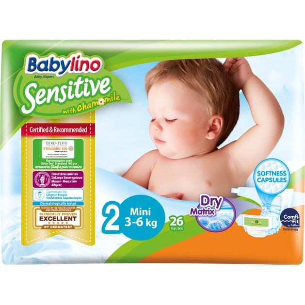 Babylino Sensitive Carry Pack Mini Νο2 (3-6kg) 26 Πάνες