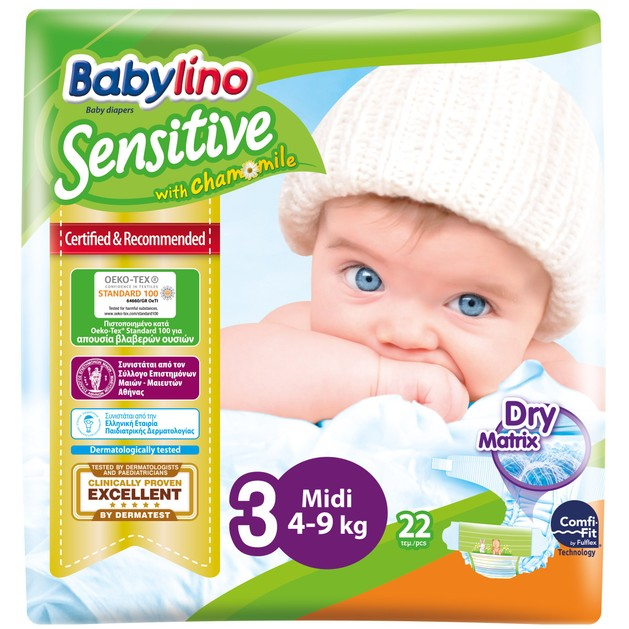 Babylino Sensitive Carry Pack Midi Νο3 (4-9kg) 22 Πάνες