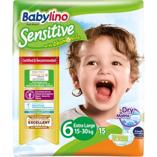 Babylino Sensitive Carry Pack Extra Large Νο6 (15-30kg) 15 Πάνες