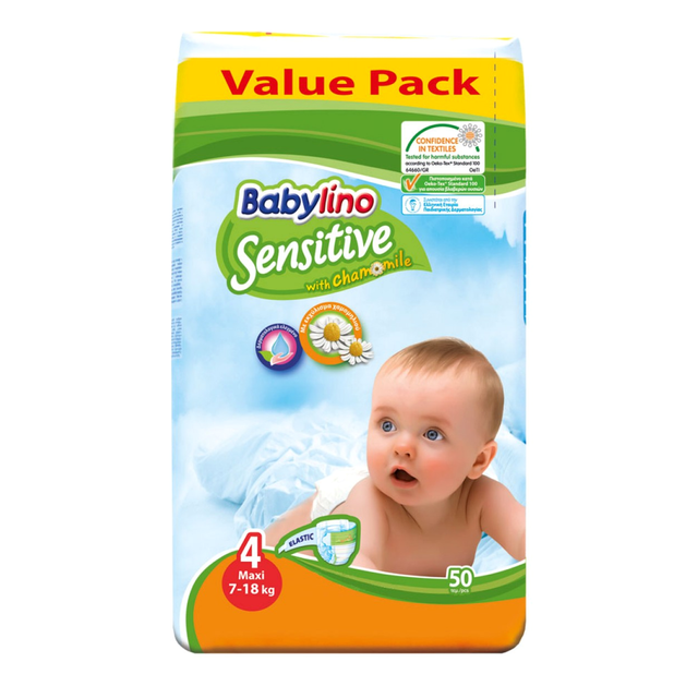 Babylino Sensitive Value Pack Maxi Νο4 (7-18kg) Βρεφικές Πάνες 50 τεμάχια