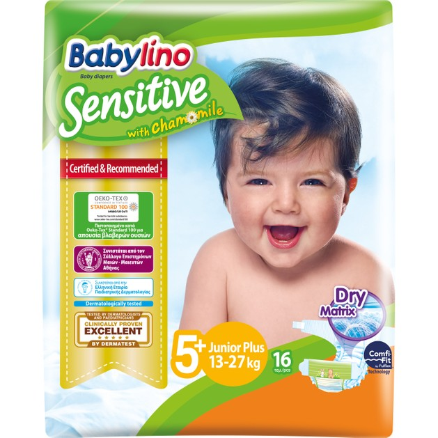 Babylino Sensitive Carry Pack Junior Plus Νο5+ (13-27kg) 16 Πάνες