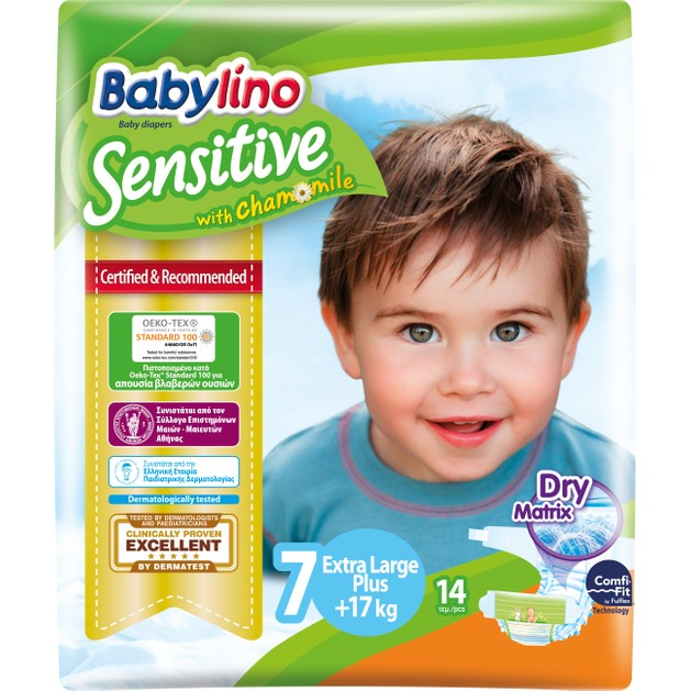 Babylino Sensitive Carry Pack Extra Large Plus Νο7 (17+kg) 14 Πάνες
