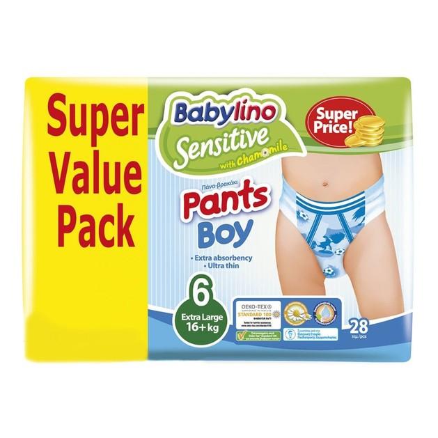 Babylino Sensitive Pants Boy No6 (16+kg) Super Value Pack 28 πάνες