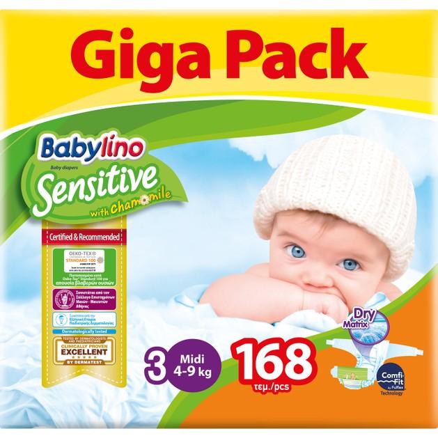 Babylino Sensitive Giga Pack Midi Νο4 (4-9kg) Βρεφικές Πάνες 168 Τεμάχια