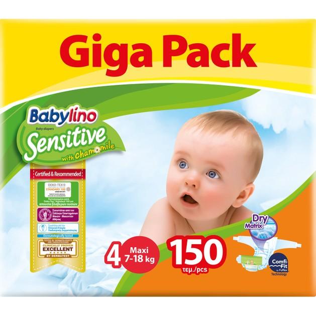 Babylino Sensitive Giga Pack Maxi Νο4 (7-18kg) Βρεφικές Πάνες 150 Τεμάχια