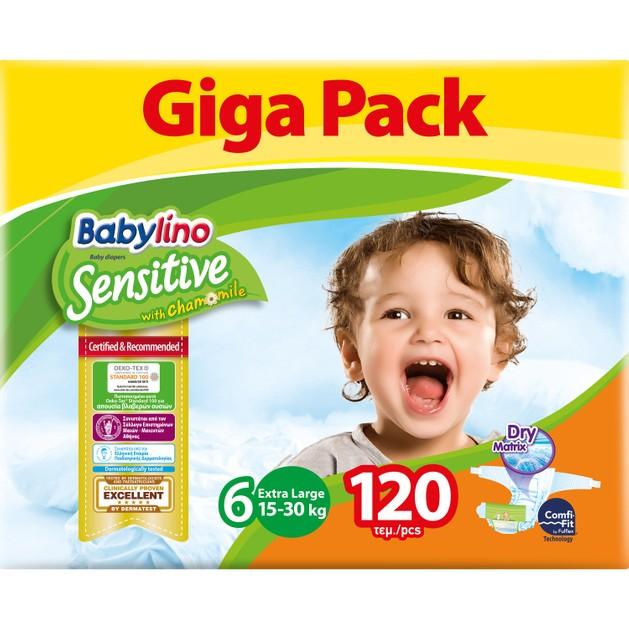 Babylino Sensitive Giga Pack Extra Large Νο6 (15-30kg) Παιδικές Πάνες 120 τεμάχια