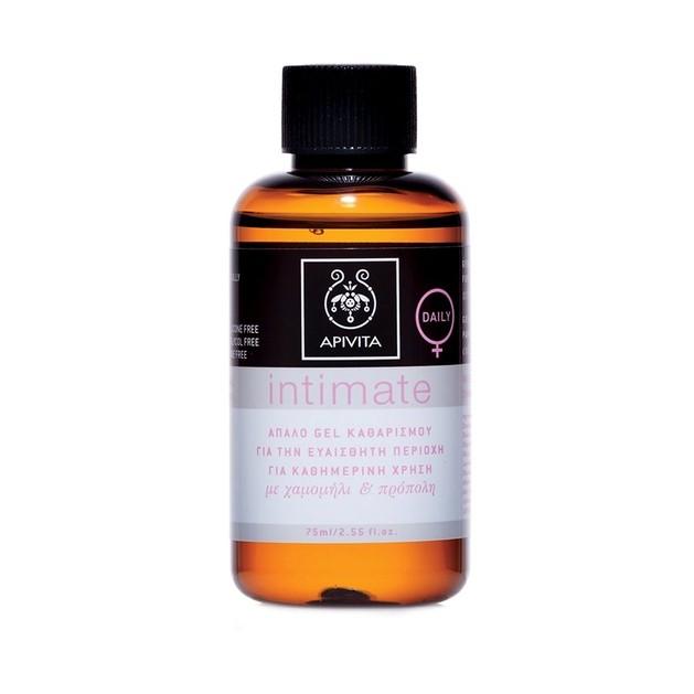 Apivita Intimate Care Plus Cleansing Gel For Extra Protection Mini Απαλό Gel Καθαρισμού για την Ευαίσθητη Περιοχή 75ml
