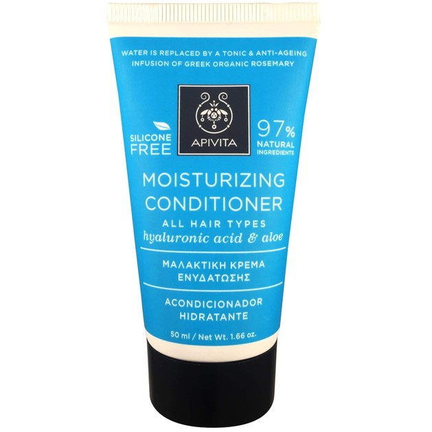 Apivita Moisturizing Conditioner Μαλακτική Κρέμα Ενυδάτωσης για Όλους τους Τύπους Μαλλιών με Υαλουρονικό Οξύ & Αλόη 50ml