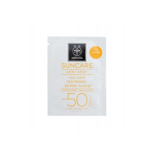 Δείγμα Apivita Suncare Anti Spot Tinted Face Cream With Sea Fennel & 3D Pro-Algae Spf50, 2ml