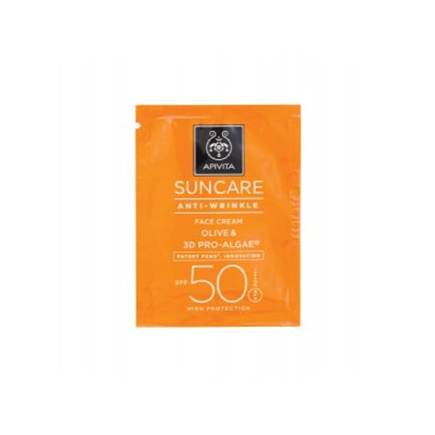Δείγμα Apivita Suncare Anti-Wrinkle Face Cream With Olive & 3D Pro-Algae Spf50, 2ml