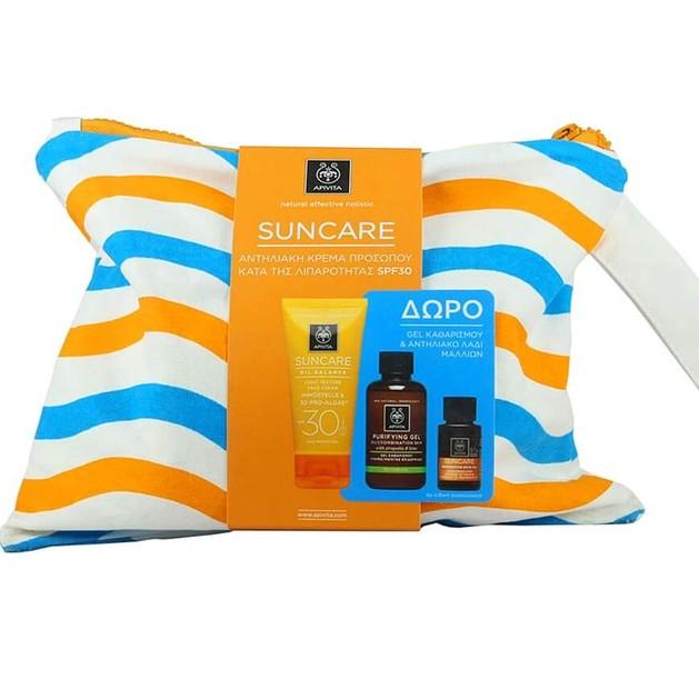 Apivita Πακέτο Suncare Oil Balance Light Texture Face Cream Spf30,50ml & Gel Καθαρισμού 75ml & Hair Oil 20ml & Νεσεσέρ