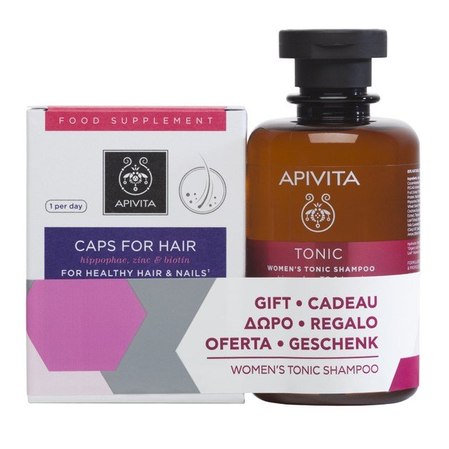 Apivita Πακέτο Προσφοράς Caps for Hair 30caps & Δώρο Women\'s Tonic Shampoo With Hippophae Tc & Laurel 250ml