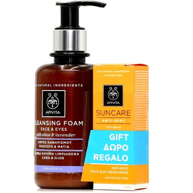 Apivita Πακέτο Προσφοράς Cleansing Foam Face & Eyes With Olive & Lavender 200ml & Δώρο Suncare Anti-Spot Face Cream Spf50 15ml