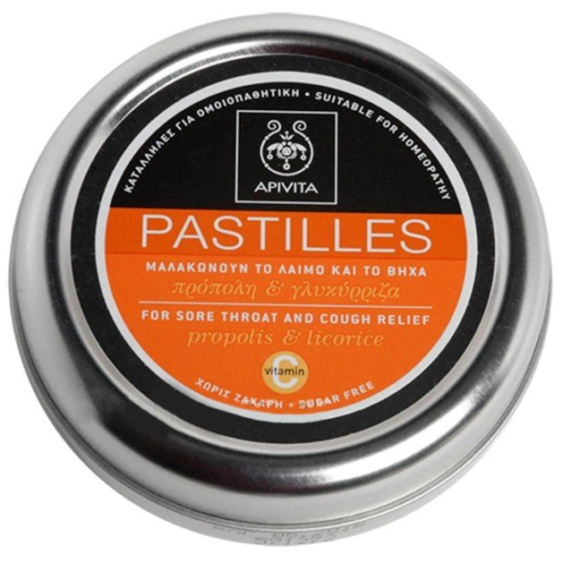 Apivita Pastilles For Sore Throat & Cough Relief With Propolis & Licorice 45g