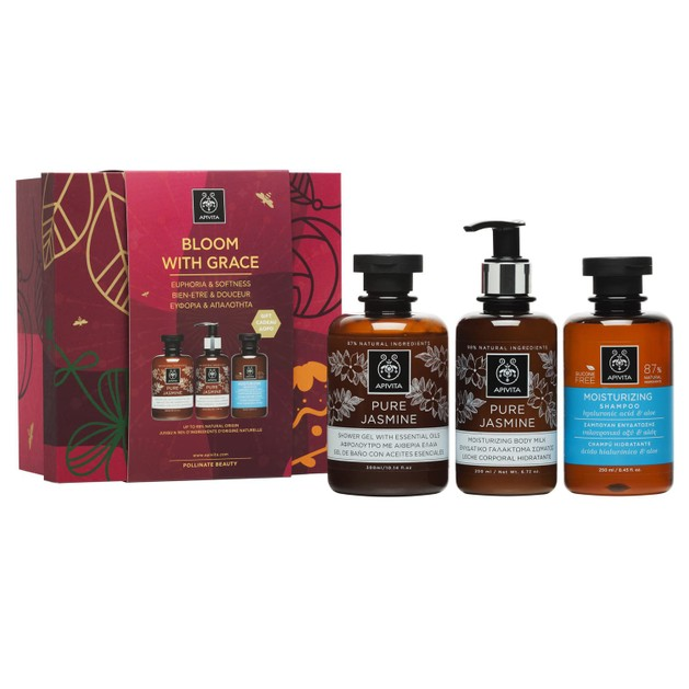 Apivita Πακέτο Προσφοράς Bloom With Grace Pure Jasmine Shower Gel 300ml & Body Milk 200ml & Δώρο Moisturizing Shampoo 250ml