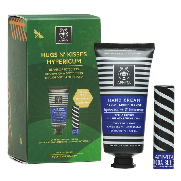 Apivita Hugs n Kisses Dry-Chapped Hand Cream Hypericum Κρέμα Χεριών 50ml & Lip Care Cocoa Butter Spf20, 4.4g σε Ειδική Τιμή