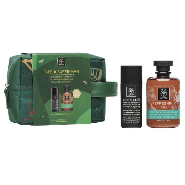 Apivita Πακέτο Προσφοράς Bee a Super-Man Mens Care Moisturizing Cream-Gel Cedar & Propolis 50ml &Refreshing Fig Shower Gel 300ml
