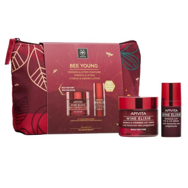 Apivita Πακέτο Προσφοράς Bee Young Wine Elixir & Firmness Lift Rich Day Cream 50ml & Eye & Lip Cream 15ml σε Ειδική Τιμή