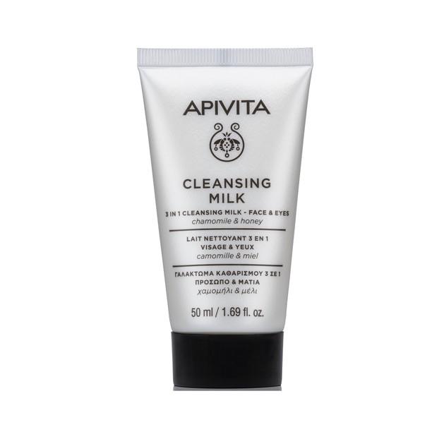 Apivita Mini Cleansing Milk 3 in 1 Face & Eyes Γαλάκτωμα Προσώπου & Ματιών με Χαμομήλι & Μέλι 50ml