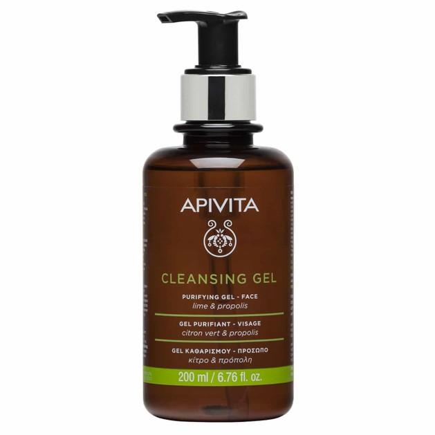 Apivita Purifying Cleansing Gel With Propolis & Lime Gel Καθαρισμού για Λιπαρές/Μικτές Επιδερμίδες με Κίτρο & Πρόπολη 200ml