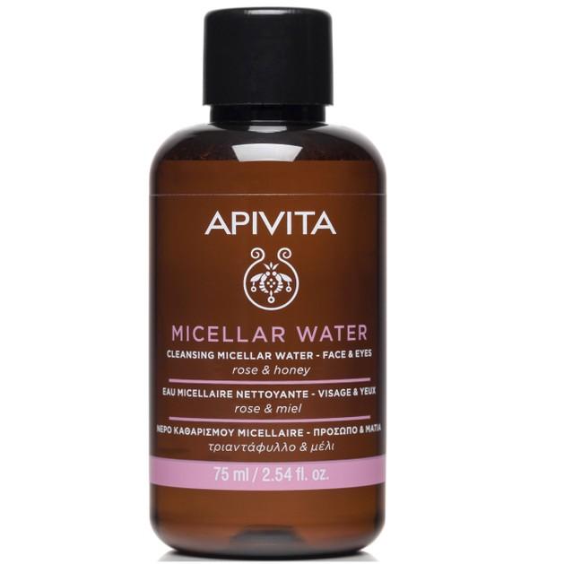 Apivita Mini Micellar Water Face & Eyes Νερό Καθαρισμού για Πρόσωπο & Μάτια με Τριαντάφυλλο & Μέλι 75ml