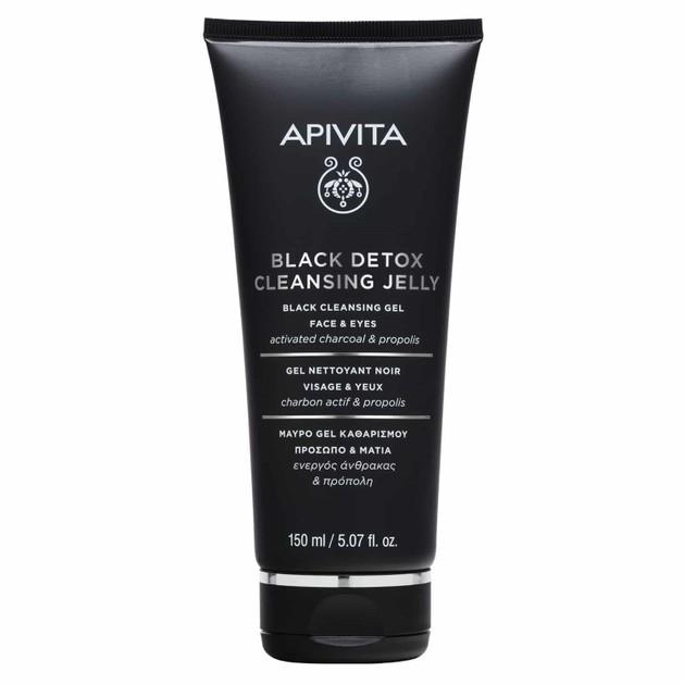 Apivita Black Detox Cleansing Jelly Μαύρο Gel Καθαρισμού για Πρόσωπο & Μάτια με Ενεργό Άνθρακα & Πρόπολη 150ml