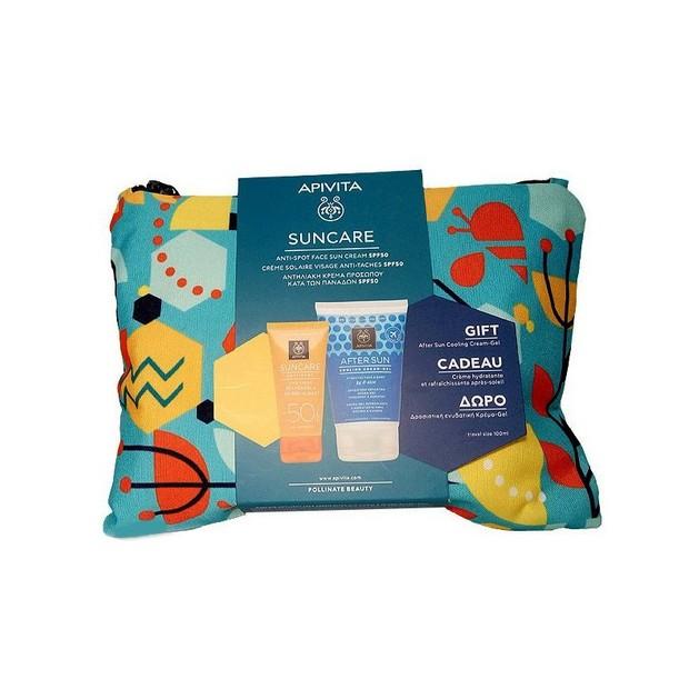 Apivita Πακέτο Προσφοράς Suncare Anti Spot Face Cream Spf50, 50ml & Δώρο After Sun Cooling Cream Gel 100ml & Νεσεσέρ