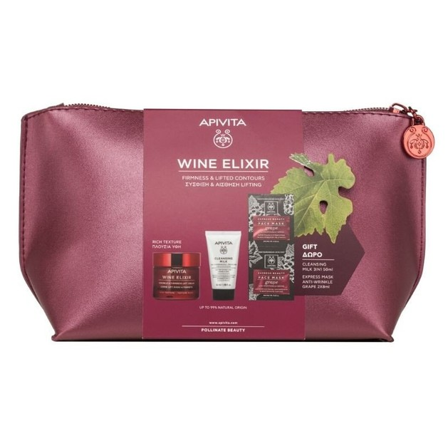 Apivita Promo Wine Elixir Αντιρυτιδική Κρέμα Σύσφιξης & Lifting Πλούσια Υφή 50ml & Cleansing Milk 50ml & Face Mask Grape 2x8ml