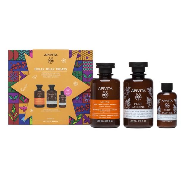 Apivita Holly Jolly Treats Shine & Revitalizing Shampoo With Orange & Honey 250ml,Pure Jasmine Shower Gel 250ml & Body Milk 75ml