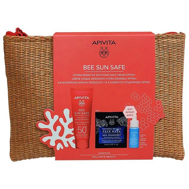 Apivita Promo Bee Sun Safe Hydra Sensitive Face Cream Spf50+, 50ml &Δώρο Aqua Beelicious Booster 10ml,Express Sea Lavender 2x8ml