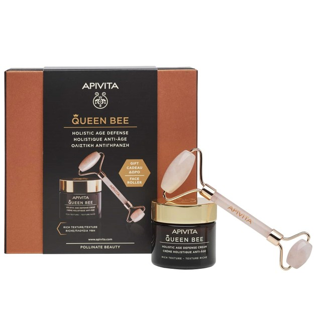 Apivita Queen Bee Πακέτο Προσφοράς HolisticAge Defense Day Cream Rich Texture 50ml & Δώρο Face Roller 1 Τεμάχιο