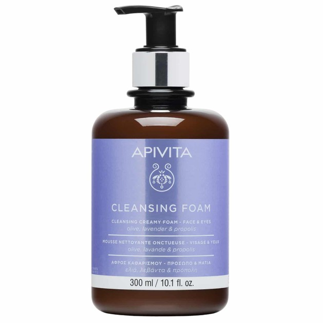 Apivita Cleansing Foam Face & Eyes With Olive,Lavender & Propolis 300ml