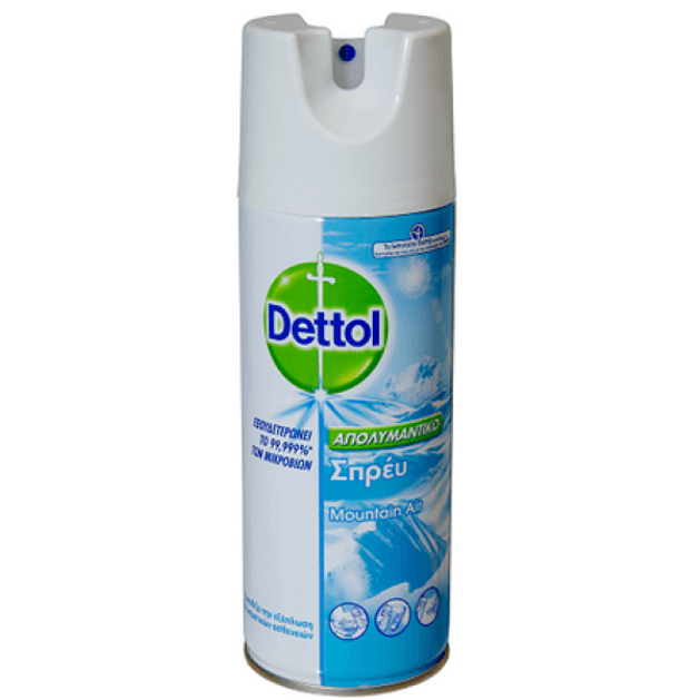 Dettol Απολυμαντικό Σπρέυ Προλαμβάνει την εξάπλωση των μικροβίων με άρωμα Mountain Air 400ml