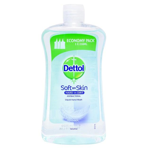 Dettol Sensitive Antibacterial Liquid Soap Reffil Σαπούνι Χεριών Ανταλλακτικό, με Γλυκερίνη, Οικονομική Συσκευασία 750ml