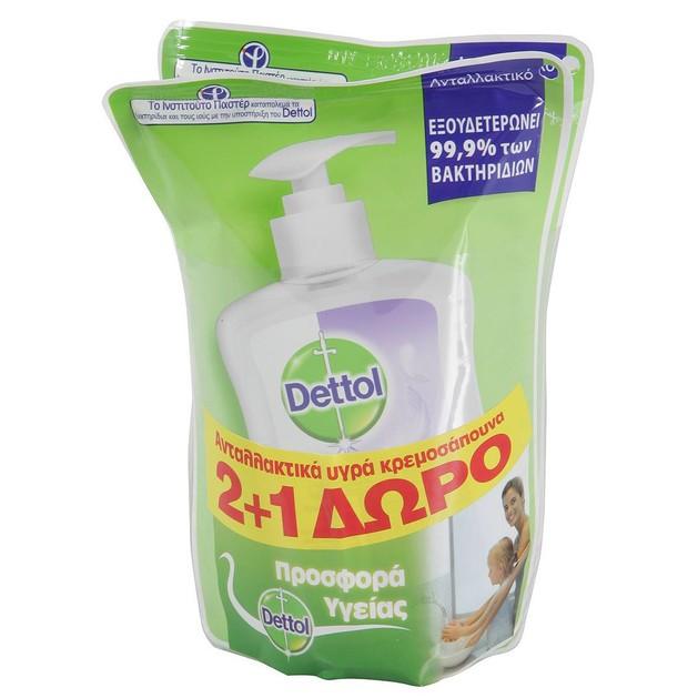 Dettol Πακέτο Προσφοράς Sensitive Antibacterial Liquid Soap Reffil Σαπούνι Χεριών Ανταλλακτικό, με Γλυκερίνη 3x200ml 2+1 Δώρο