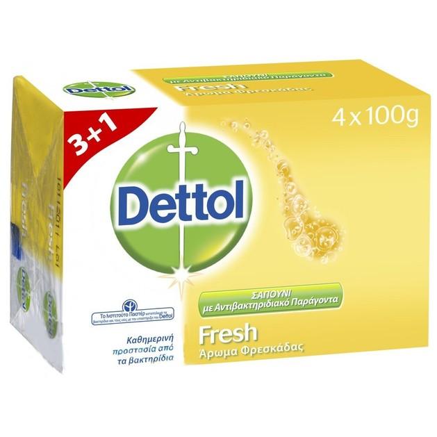 Dettol Πακέτο Προσφοράς Fresh Antibacterial Hand Soap Σαπούνι Χεριών με Άρωμα Φρεσκάδας 4x100gr 3+1 Δώρο