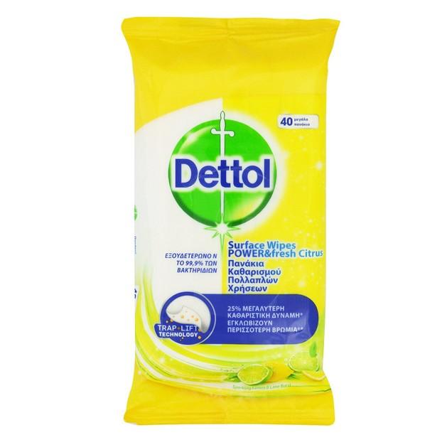 Dettol Surface Clean Wipes Power & Fresh Citrus Υγρά Πανάκια Καθαρισμού Πολλαπλών Χρήσεων, με Άρωμα Κίτρο 40 Μεγάλα Πανάκια