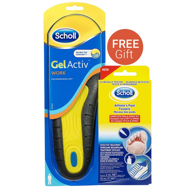 Dr Scholl Gel Activ Work Ανδρικοί Πάτοι & Δώρο Foot Fungal Kit (Pen 4ml & Spray 10ml)