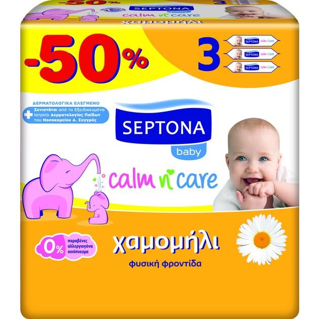 Septona Baby Calm n\' Care Wipes Chamomile Απαλά Βρεφικά Μωρομάντηλα με Χαμομήλι 3x64 Τεμάχια Promo -50%