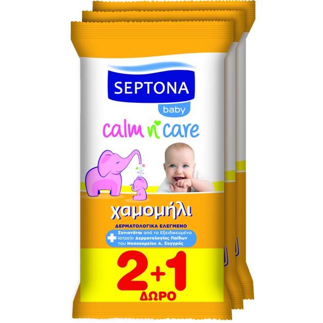 Septona Baby Calm n\' Care Wipes Chamomile Απαλά Βρεφικά Μωρομάντηλα με Χαμομήλι Travel Size 3x12 Τεμάχια 2+1 Δώρο