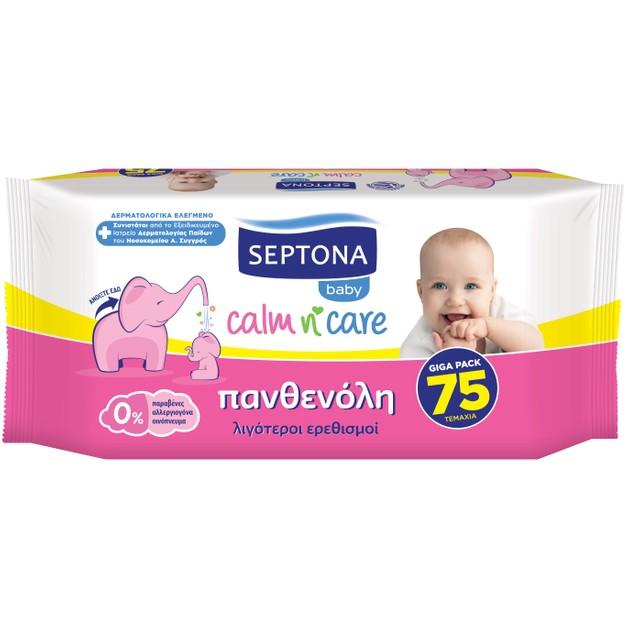 Septona Baby Calm n\' Care Wipes Panthenol Απαλά Βρεφικά Μωρομάντηλα με Πανθενόλη για Λιγότερους Ερεθισμούς 75 Τεμάχια