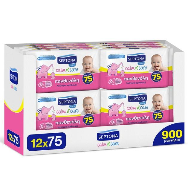 Septona Πακέτο Προσφοράς Baby Calm n\' Care Wipes Panthenol Απαλά Βρεφικά Μωρομάντηλα με Πανθενόλη 900 Τεμάχια