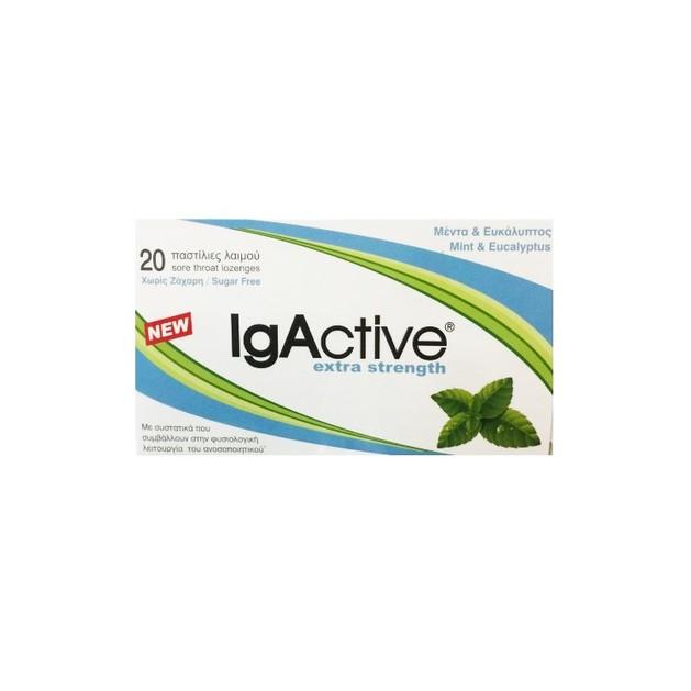 IgActive Extra Strength Παστίλιες για το Λαιμό με Μέντα Ευκάλυπτο, Συμβάλλουν στην Υποστήριξη του Ανοσοποιητικού 20 Παστίλιες