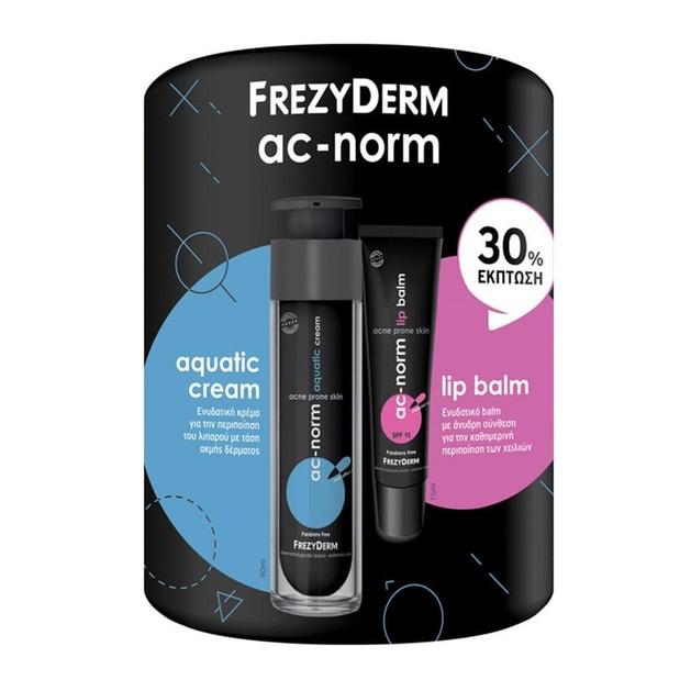 Frezyderm Πακέτο Προσφοράς Ac-Norm Aquatic Cream Ενυδατική Κρέμα για την Ακνεϊκή Επιδερμίδα 50ml & Ac-Norm Lip Balm 15ml